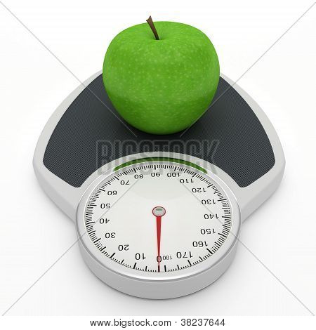 Scales And Apple On A White Background.