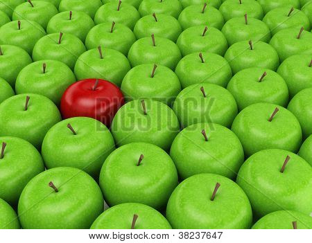 One Red Apple On A Background Of Green Apples