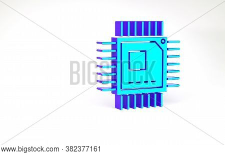 Turquoise Computer Processor With Microcircuits Cpu Icon Isolated On White Background. Chip Or Cpu W