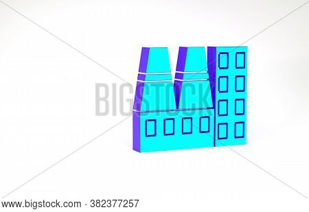Turquoise Power Station Plant And Factory Icon Isolated On White Background. Energy Industrial Conce