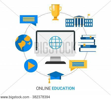 Online Education Concept. Computer With Internet Icons, University Building And Academic Cap Over Wh