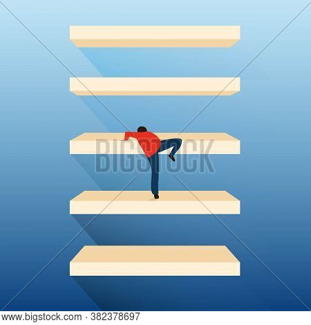 Personal Growth Concept. Man Climbing Up Ladder Steps Improving Himself On Blue Background. Square,