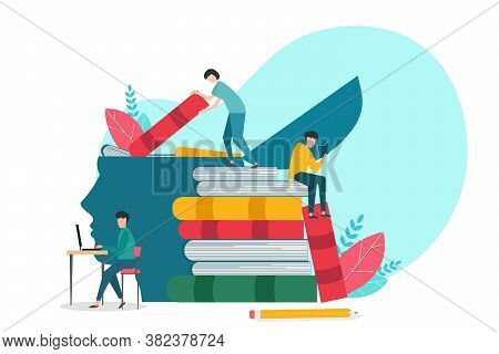 Education. People Learning Reading Books Studying Acquiring Knowledge Over White Background. Concept