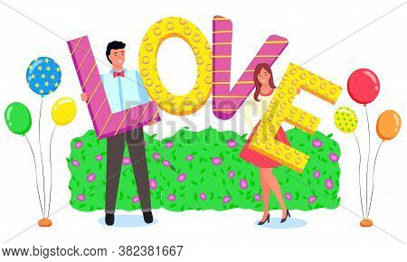 People Posing In Photozone Vector, Couple Holding Inflatable Balloon Letters Saying Love. Man And Wo