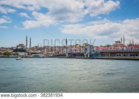 The Old Town Of Istanbul Showing The Golden Horn Bridge (halic Koprusu), The Yeni Mosque, Spice (egy