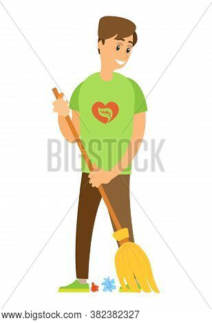 Volunteer Man Sweeping Trash, Activist Holding Besom, Portrait View Of Standing Worker With Broom, P