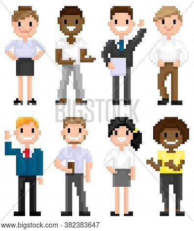 Pixel Art Characters, Man Wearing Suit And Tie, 8 Bit Game Isolated Character, Hipster Male With Cup