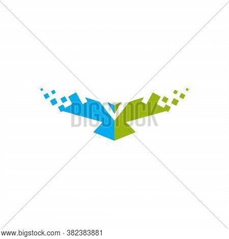 Creative Eagle And Network Logo Vector Illustration Isolated On Dark Background . Eagle Icon, Eagle