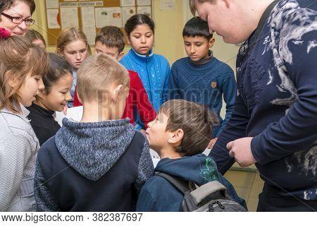 Chapaevsk, Samara Region, Russia - November 16, 2018: Primary School In Chapaevsk City. Primary Scho