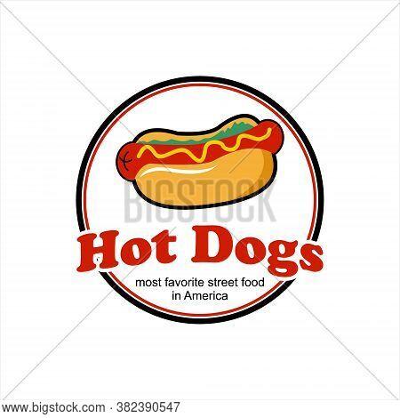 Hot Dogs Bun Logo Design Template. American Street Food Recipes Label Or Stamp Inspiration