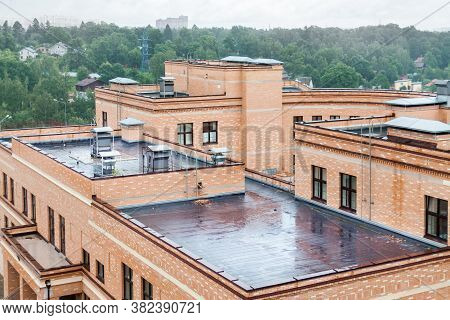 Flat Roof With Air Conditioners Top Modern Apartment House Building Mixed-use Urban Multi-family Res