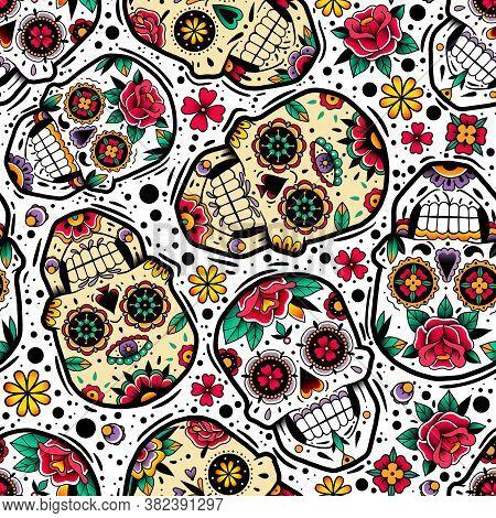 Mexican Skulls Seamless Pattern. Mexican Skulls Seamless Pattern. Vector Illustration. Dia De Los Mu