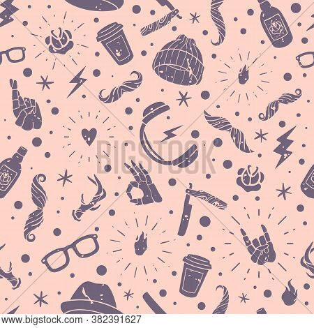 Hipster Accessories Seamless Pattern. Hipster Accessories Seamless Pattern. Isolated Elements On A P