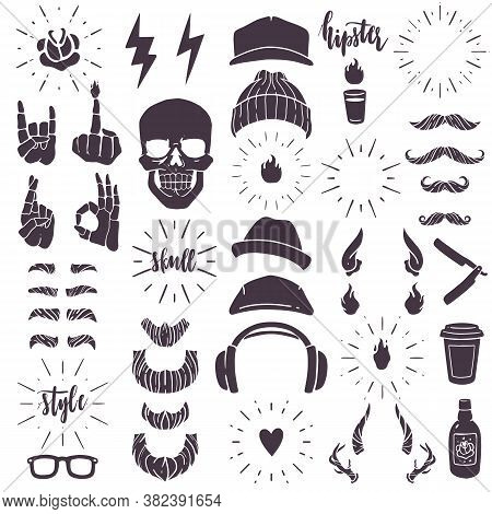 Hipster Accessories Set. Hipster Skull Accessories Constructor. Isolated Elements On A White Backgro
