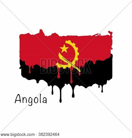 Painted Angola Flag, Angola Flag Paint Drips. Stock Vector Illustration Isolated On White Background