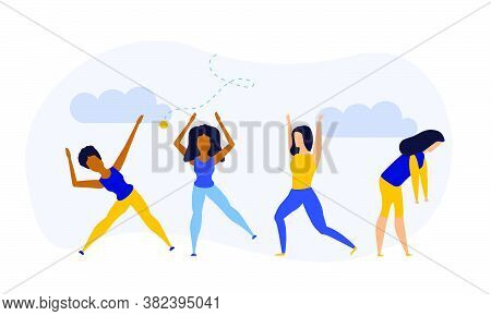 Achievement Exercise Flat Health Body Mind Vector Concept Illustration. Office Multitasking Posture
