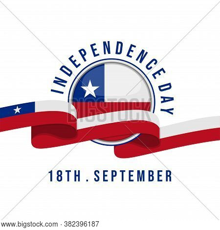 Chile Independence Day With Flag Ribbon Vector Illustration. Good Template For Chile Independence Da