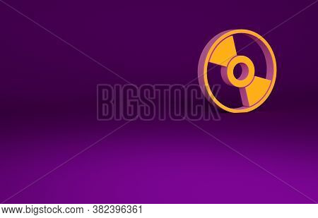 Orange Cd Or Dvd Disk Icon Isolated On Purple Background. Compact Disc Sign. Minimalism Concept. 3d