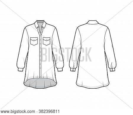 Oversized Shirt Dress Technical Fashion Illustration With Angled Pockets, Long Sleeves, Regular Coll