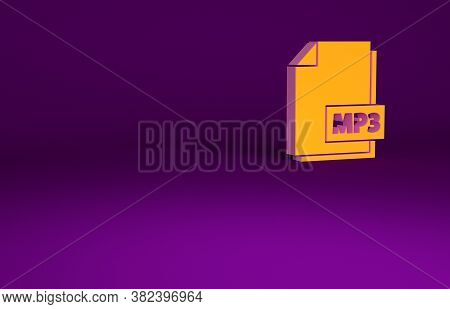 Orange Mp3 File Document. Download Mp3 Button Icon Isolated On Purple Background. Mp3 Music Format S