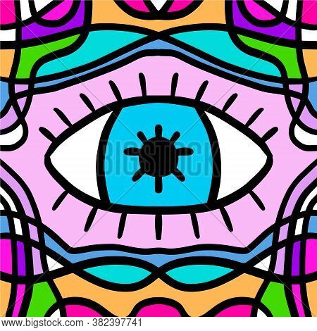 Surreal Background With Open Eye Hand Drawn Vector Illustration In Doodle Style
