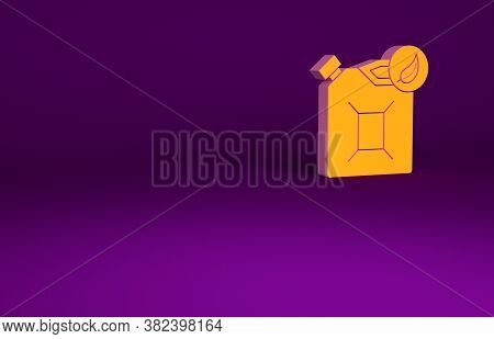 Orange Bio Fuel Canister Icon Isolated On Purple Background. Eco Bio And Barrel. Green Environment A