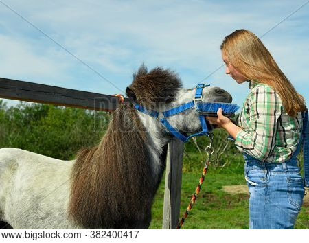 The Young Caucasian Woman And Her Gray Pony Are Standing Face To Face Near The Hitching Post.