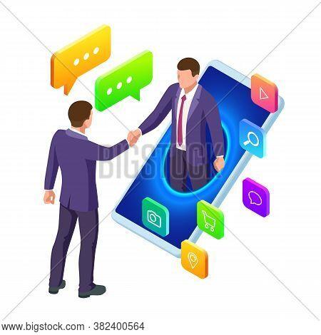 Isometric Business To Business Marketing, B2b Solution, Business Marketing Concept. Two Business Par