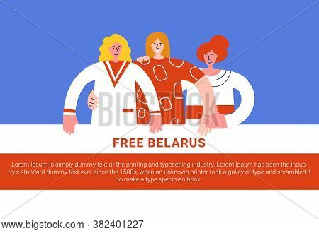 Belarus Election. Women Form Solidarity Chains To Condemn Crackdown. Women Protesters In Belarus. Th