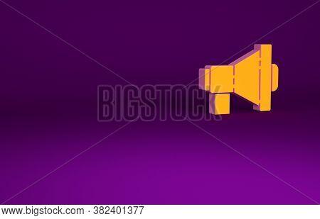 Orange Megaphone Icon Isolated On Purple Background. Loud Speach Alert Concept. Bullhorn For Mouthpi