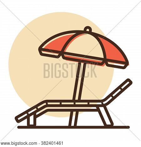 Lounger Beach Sunbed Chair Flat Vector Icon. Summer Sign. Graph Symbol For Travel And Tourism Web Si
