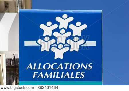 Villefranche, France - May 17, 2020: Caisse D'allocations Familiales Or Caf Is The Family Branch Of