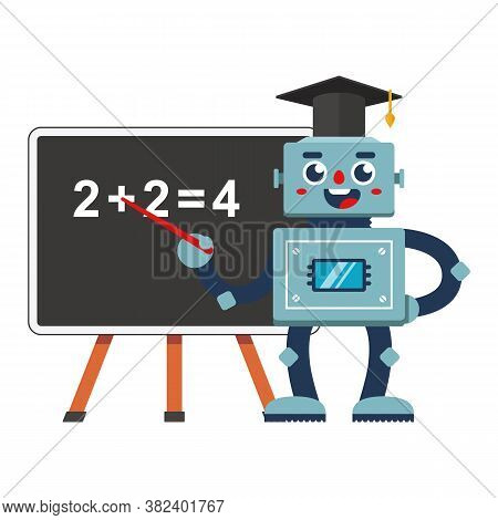 Robot Teacher At School. Future Education Automation In Retro Style. Flat Character Vector Illustrat