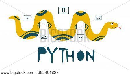 Python Code Language Sign. Programming Coding And Developing Concept. Software Development. Programm