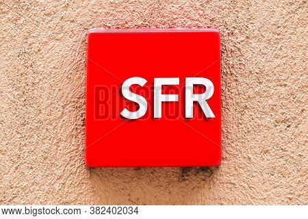 Voiron, France - June 1, 2018: Sfr Logo On A Wall. Sfr Is A French Telecommunications Company That P