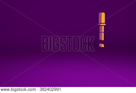 Orange Pipette Icon Isolated On Purple Background. Element Of Medical, Chemistry Lab Equipment. Pipe