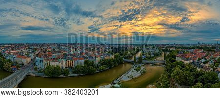 Munich City Center With The Frauenkirche And The Isar River From Above At An Aerly Sunrise The 23th