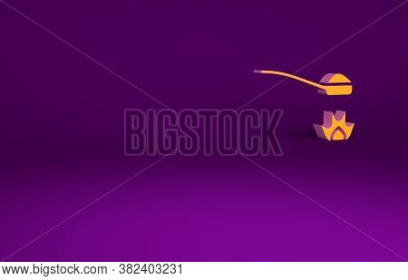 Orange Heroin In A Spoon Icon Isolated On Purple Background. Concept Of Drug Addiction And Dependenc