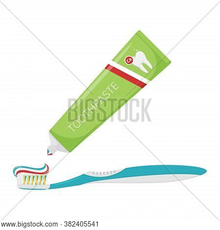 Three-color Toothpaste Is Squeezed Out Of The Tube Onto The Toothbrush. A Drop Of Toothpaste. Dental