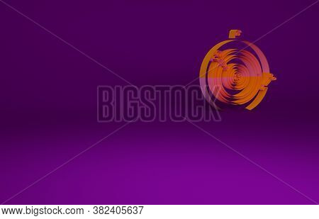 Orange Classic Dart Board And Arrow Icon Isolated On Purple Background. Dartboard Sign. Game Concept