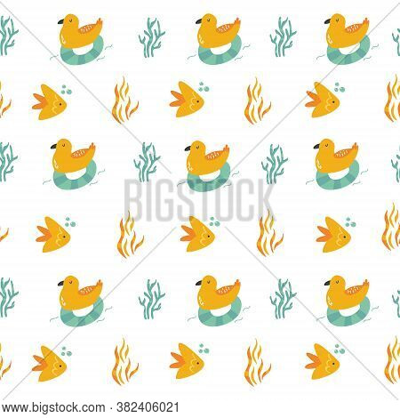 Seamless Pattern With Cheerful Seagulls And Fishes. Vector Illustration