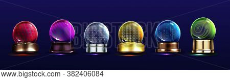 Crystal Globes, Snow Balls On Metal Stands. Vector Realistic Set Of Glass Magic Spheres With Differe