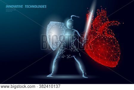 Human Heart Protection Knight Shield 3d Low Poly Concept. Safety Red Pharmacy Drugstore Background.