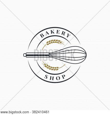 Bakery Shop Logo. Bakery Whisk On White Background