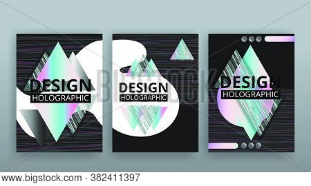 Abstract Page Templates Set, Retro Wave Creative Hipster, Neon And Gradient Colors.