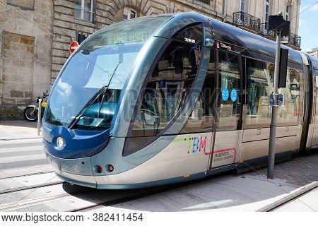 Bordeaux , Aquitaine / France - 08 16 2020 : Tram On City Street Of Bordeaux, Town France