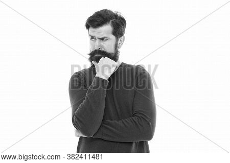 Deal With Problem. Need Time To Think. Human Mood Expressions. Thoughtful Man Touch His Beard. Beard