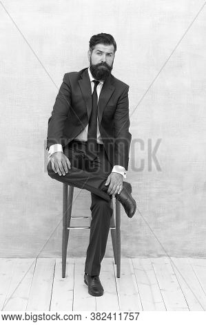 Your Lawyer. Fairness And Justice. Classy And Formal. Bearded Man Wear Formal Suit. Elegant Lawyer S