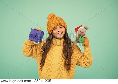 Best Wishes. Buy Gifts. Kindergarten And School. Toys Shop Concept. Girl Sincere Emotional Child Hol