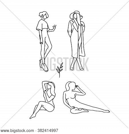 Set Of Stylized Silhouettes Of Woman Body For Decor. Trendy Linear Design. Hand Drawn Vector Illustr